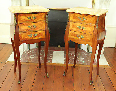 Pair French Antique Vintage Louis XV Style Inlaid Wood Marble Top Nightstands
