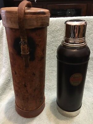 Antique Stanley Vacuum Bottle Thermos And Leather Carrier. Thermos Real Clean