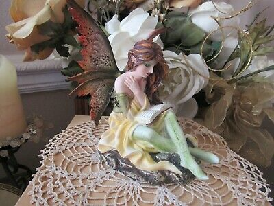 Fairyland Auburn haired Fairy Figurine reading a book by Pacific Giftware BNIB