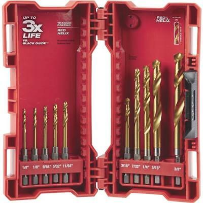 Milwaukee Shockwave 10 Piece Impact Duty Titanium Hex Shank Drill Bit Set