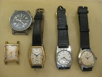5 old Mens watches Chronograph and some Art Deco some working ok
