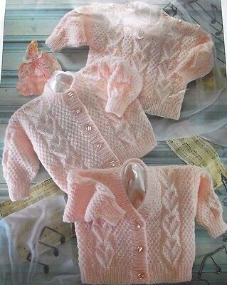 """Knitting Pattern - Sweet Cardigans And Jumper With Heart Pattern Size 16""""-22"""""""