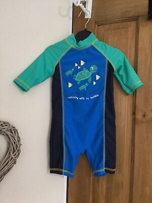 Boys Swim Long Sleeve Suit Age 12-18 Months. mothercare. Blue & Green. Turtle On