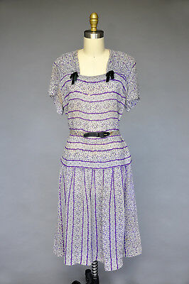 Vintage VTG 40s 1940s Purple Abstract Printed Dress Belted Short Sleeves XL/PLUS