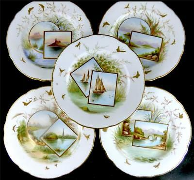N801 Set Of 8 Antique English Porcelain Plates Hand Painted Named Scenes