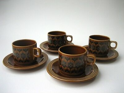 Vintage Hornsea Pottery 'Heirloom' 4 Cups and 4 Saucers