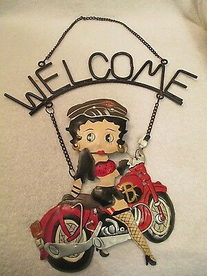 """Betty Boop Motorcycle Biker Babe Welcome Sign Metal and Tin 20"""" long"""