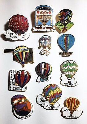 Vintage Hot Air Balloon Pins 12 Fancy Type With Names, Clouds, Misc Art Details