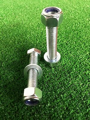 PAIR Tow Bar / Tow Ball Bolts 150mm Long C/w Nyloc Nuts & Washers 8.8 Tensile