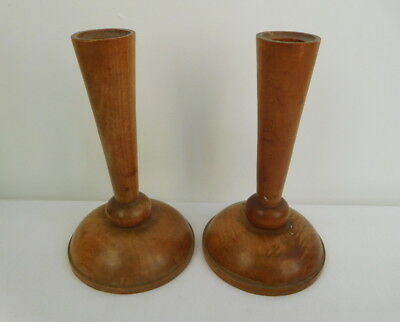X2 Vintage Pair of Turned Wooden Wood Candlesticks
