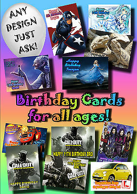 PERSONALISED birthday card Large A5 ANY name greetings kids mothers fathers (58)