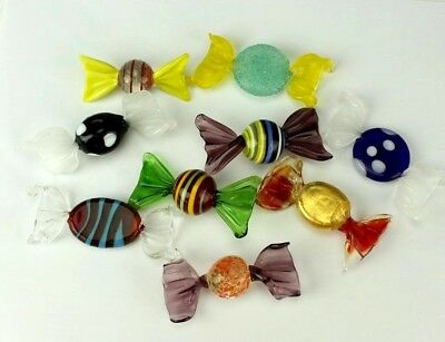Lot of 9 Vintage MURANO Italian Art Glass Colorful Wrapped Candies Figurines LWR