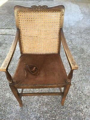 Antique ? Edwardian Carver Chair With Weaved Back