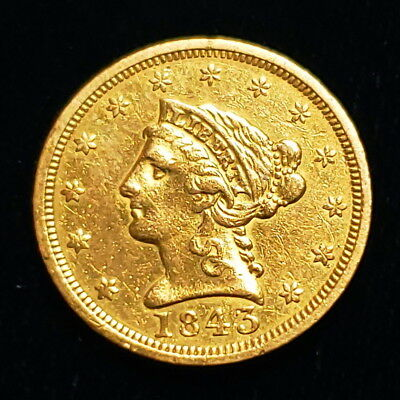 1843 $2.5 Liberty Coronet Head Quarter Eagle Gold Collector Coin ^LHQE4512