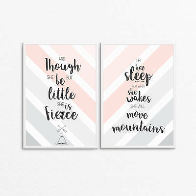 Nursery Wall Art Bedroom Decor - Let her sleep - Though she be but little prints