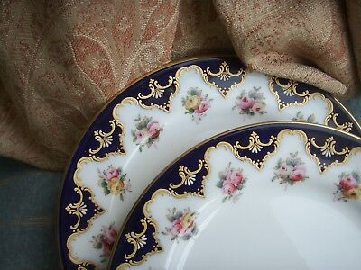 Old Vintage Antique 2 Royal Worcester English Porcelain Rose Gilded Cobalt Plate