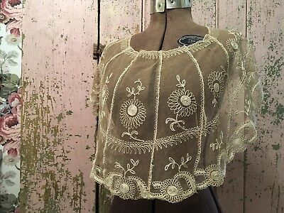 Antique French Lace Collar Tambour Cotton Netting Ecru Floral Design # A235