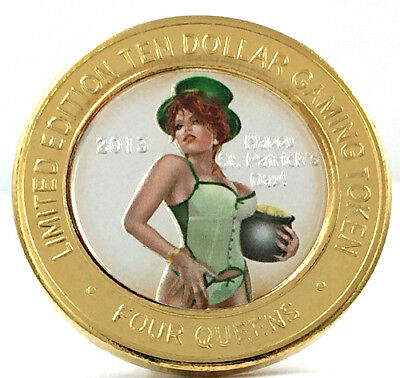 2013 Happy St. Patrick's Day Colored Limited Edition $10 Gaming Token Four Queen