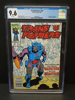 Marvel Transformers #78 1991 Cgc 9.6 White Pages Galvatron V Megatron Newsstand