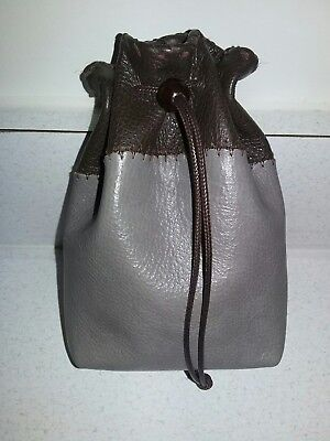 New Handmade Gray and Brown Genuine Leather Drawstring, Dice Bag, Coin Pouch