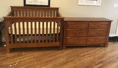 Cherry Wood Stain Dresser and Crib set with mattress