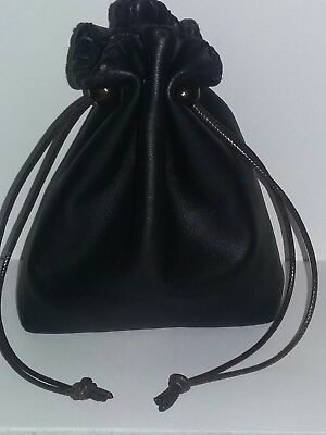 New Handmade Black Genuine Leather Drawstring, Dice Bag, Coin Pouch