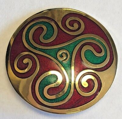 Vintage CELTIC SEA GEMS Gold Tone Brooch Pin
