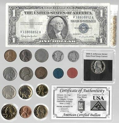 Silver Bar Dollar Barber Mercury Liberty Indian WWII War US Coin Collection Gold
