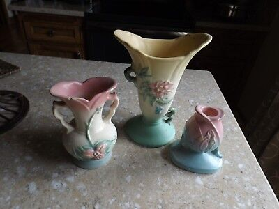 Vintage Hull Art Pottery Vases (2) & Candlestick As Is for Repair