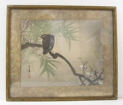 1930 Chinese Orig Watercolor Painting on Rice Paper Bird & White Cherry Blossoms