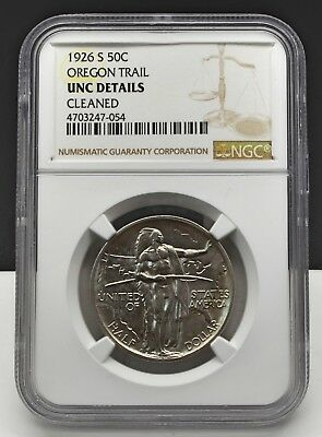 1926-S 50C Oregon Trail Commemorative Silver Half Dollar NGC UNC Details Cleaned
