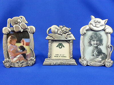"Lot of 3 Cat Dog MINI PHOTO FRAMES Silver Metal Holds 2"" x 2"" & 2"" x 3"" Pictures"