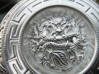 Chinese Signed, Dragon Engraved Silver Ceremonial Cup