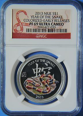 2013 Niue Year of the Snake Colorized $1 1/2oz Silver Coin NGC PF69 Ultra Cameo