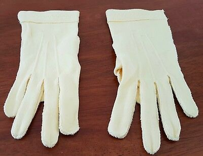 Vintage 60s DAFFODIL YELLOW Cotton Blend Short Day GLOVES size 6.5