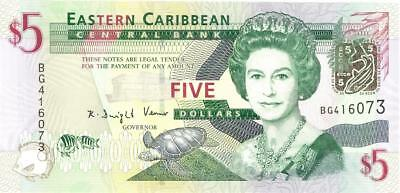 Eastern Caribbean States $5 Currency Banknote 2008  CU