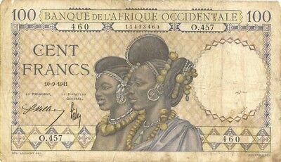 French West Africa 100 Francs Currency Banknote 1941
