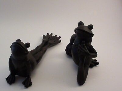 Set of 2 Bronze-look Resin Frogs in Different Yoga Poses Fun!