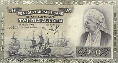 Netherlands 20 Gulden Currency Banknote 1941