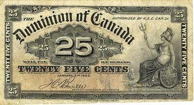 Canada 25 Cents Currency Banknote 1900