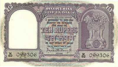 India 10 Rupees Currency Banknote 1962  CU