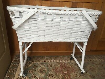Antique/Vintage/Retro Foldable White Wicker Bassinet with rare spool legs