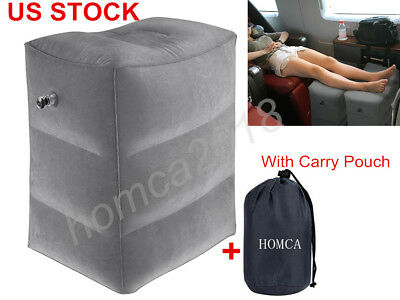 Inflatable Footrest Pillow Travel Car Airplane Foot Leg Rest Air Beds Pad in US