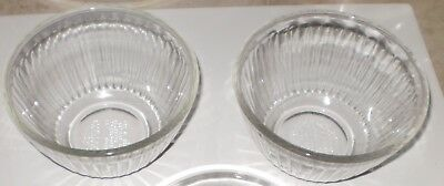 TWO Vintage PYREX 3 cup clear ribbed glass bowl made in USA