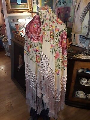 """Antique Silk Piano Shawl / Scarf Chinese Floral Embroidery Fringe 86"""" x 79"""""""
