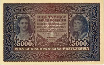 Poland 5000 Marek Currency Banknote 1920