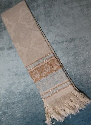 Antique French Linen Damask Fringed Towel Shells & Florals Blue & Cocoa Accents