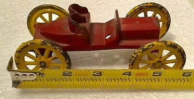 unknown large cast iron vintage toy model all original Race car OLD indy 5 3/4""