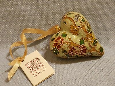 """NYCO Cloisonne Green Heart Enameled Hanging Christmas Ornament with Flowers 3"""""""