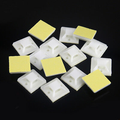 10/50/100Pcs Self Adhesive Cable Tie Wire Zip Clamp Mount Clip Holder Base White
